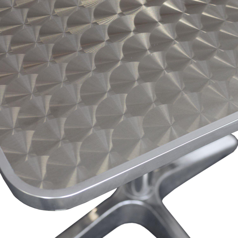 4X Alu Stapelstuhl Bistrostuhl Aluminium Bistrom/öbel-Set Bistrotisch Aluminium Niveauausgleich Tischplatte in Schleifoptik Multistore 2002 5tlg 60x60cm