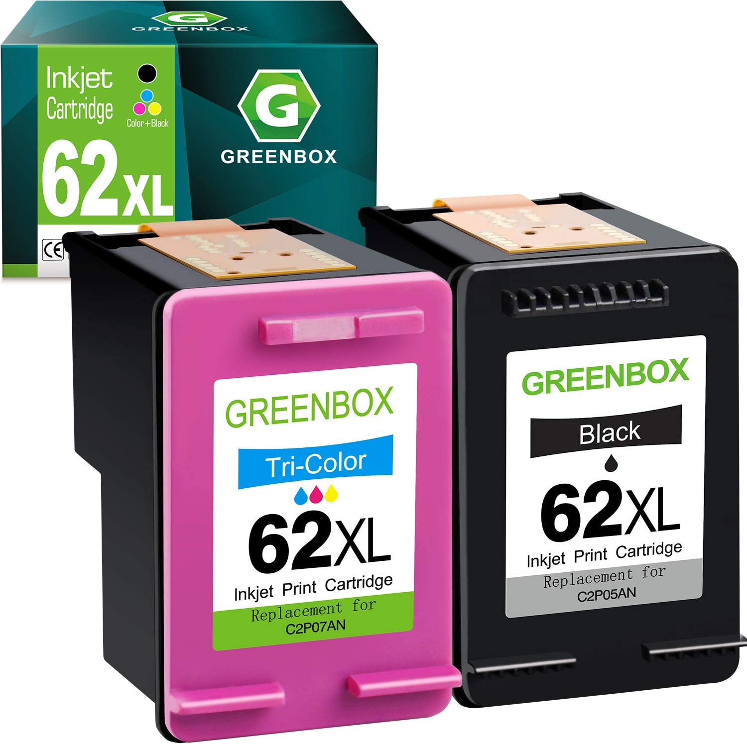 GREENBOX Remanufactured Ink Cartridge Replacement for HP 62XL 62 XL for HP Envy 5540 5640 5660 7644 7645 OfficeJet 5740 8040 OfficeJet 200 250 Series Printer (1 Black 1 Tri-Color)