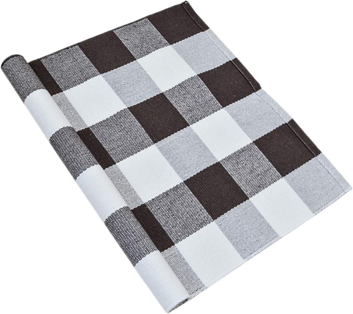 "USTIDE Buffalo Plaid Check Rug 100% Cotton Hand-Woven Tartan Checked Doormat 23.6""x51""Retro Farmhouse Rug Washable Porch Rugs Coffee&White"
