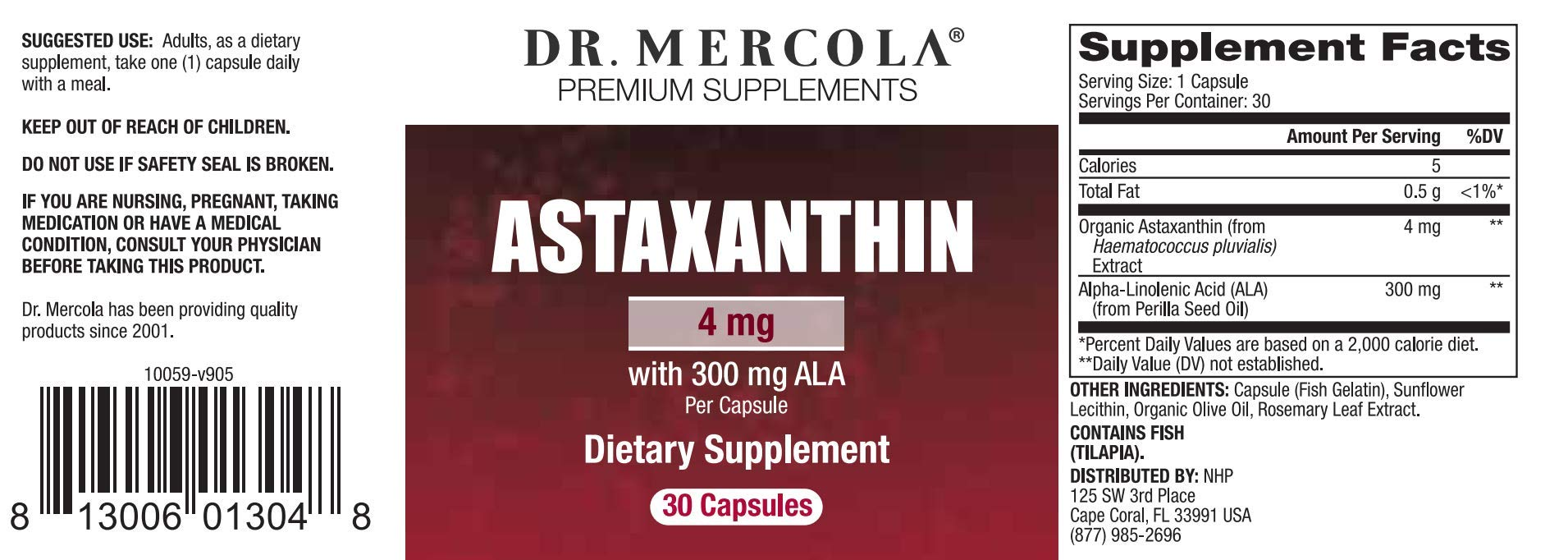 Dr. Mercola: Astaxanthin with 300 mg ALA, 30 caps