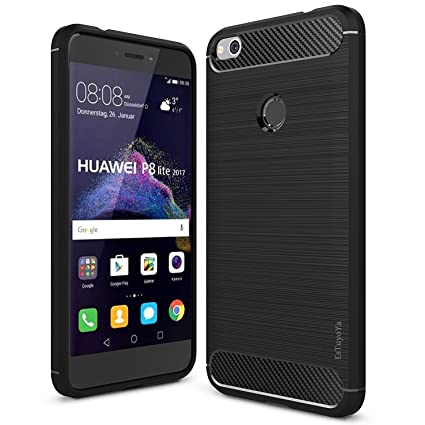 Huawei P8 Lite 2017 Funda, Estuyoya Silicona [Efecto Carbono] funda trasera [Diseño Duradero] alta calidad [Antigolpes] Gel Flexible Carcasa para P8 ...