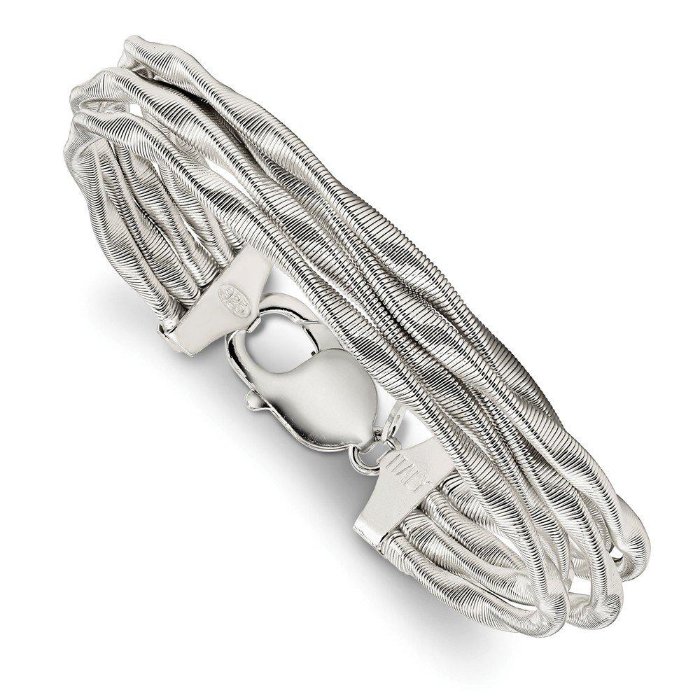 Solid 925 Sterling Silver Twisted Omega 5-Strand Bracelet 7.5'' (3mm)
