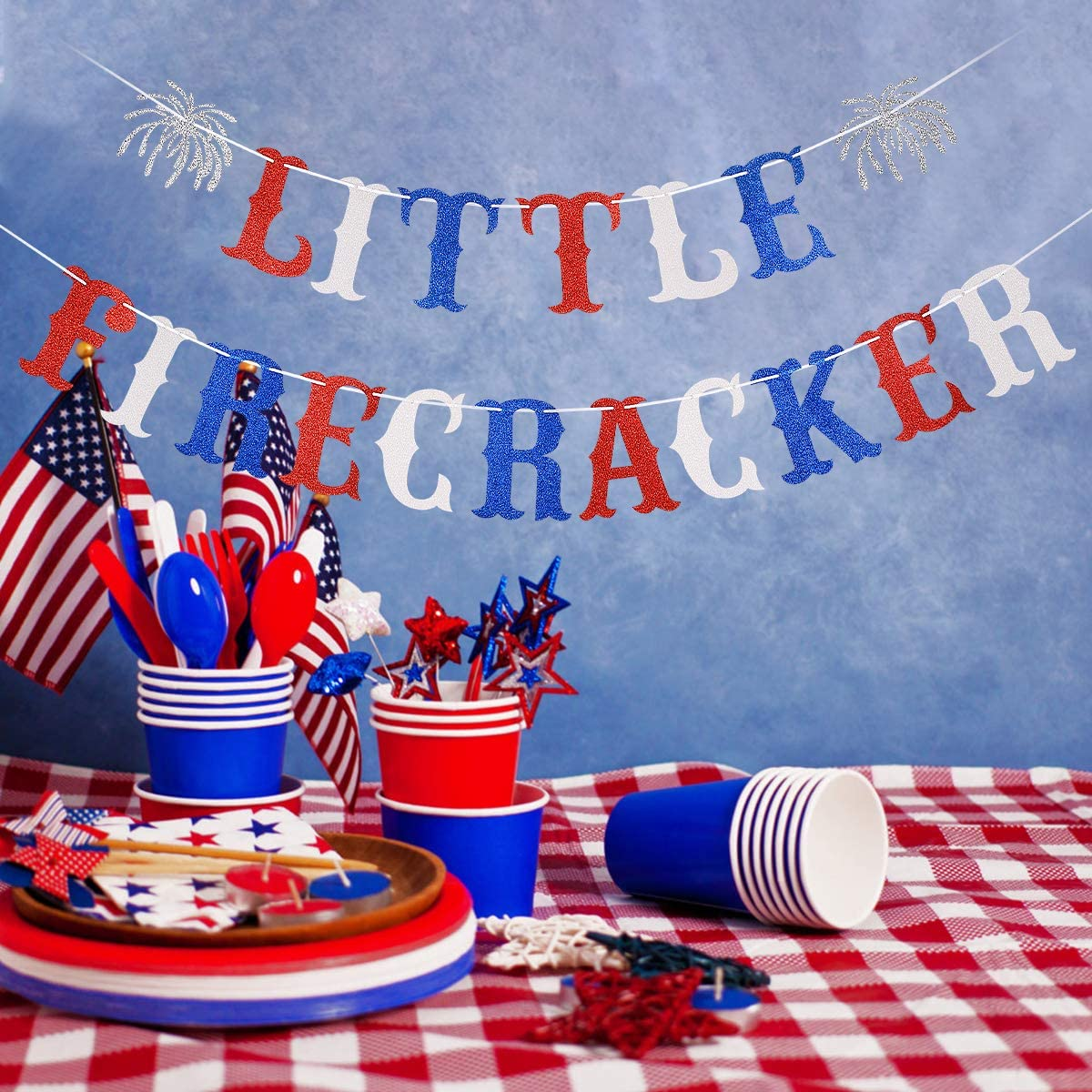 4th of July Baby Shower Party Decorations,4th of July Birthday Party Decor,Home Decor Glittery Little Firecracker Banner