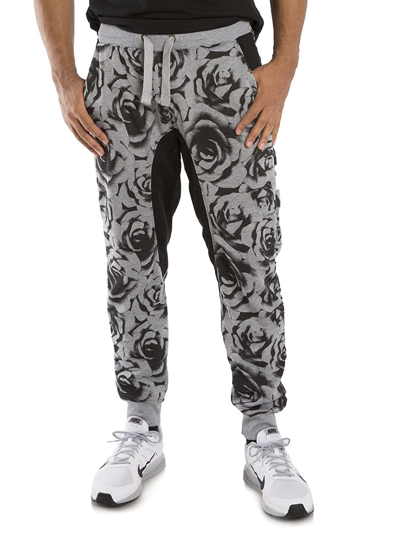 a2bfdc90b74ac Vibes Men's Fleece Jogger Pants Black Rose Printed Contrast Drop Crotch Rib  Cuff at Amazon Men's Clothing store: