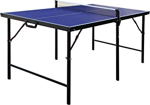 """Hathaway BG2305 Crossover 60-in Folding Portable Table Tennis Table – Perfect Small Space Solution, Blue, 60"""""""