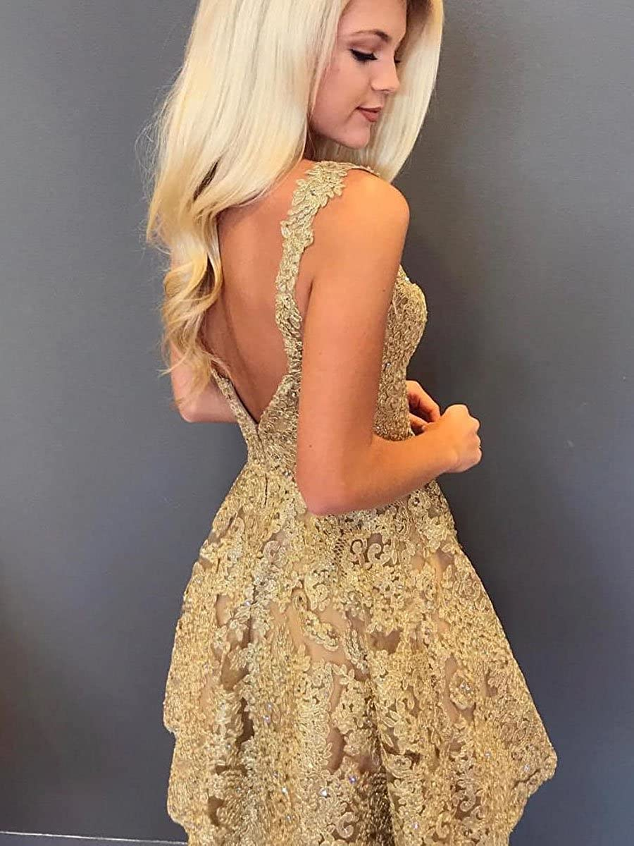 17b8d876d174 Graceprom Women's Gold Lace Homecoming Dress Sexy V Neck Backless Short  Prom Dress at Amazon Women's Clothing store: