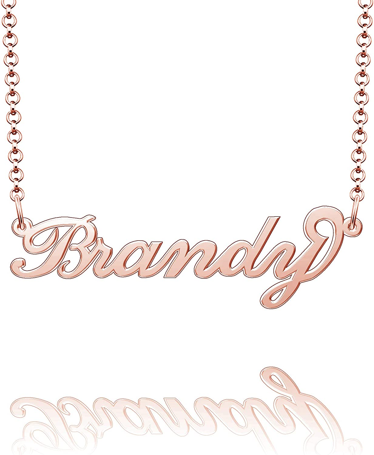 Moonlight Collections Brandy Personalized Name Necklace Custom Sterling Silver Jewelry