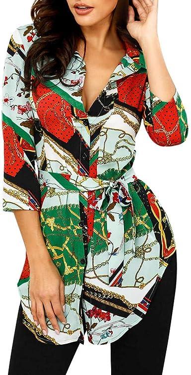 Camisas Mujer, Camiseta Estampada de Manga Larga para Mujer Camisetas y Tops Camisa de Vestir Blusas Elegantes señoras de Camisa Estampada,de Blusa con Botones: Amazon.es: Ropa y accesorios
