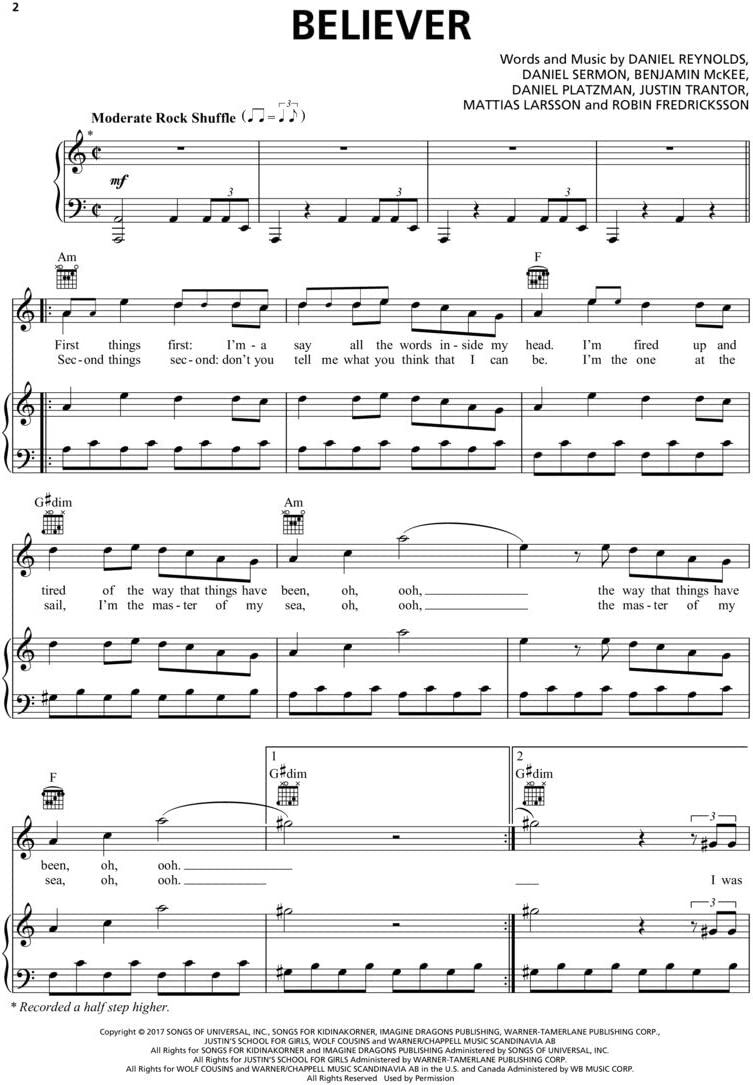 Imagine Dragons – creyente – Piano/Vocal/Guitar Sheet Music único ...