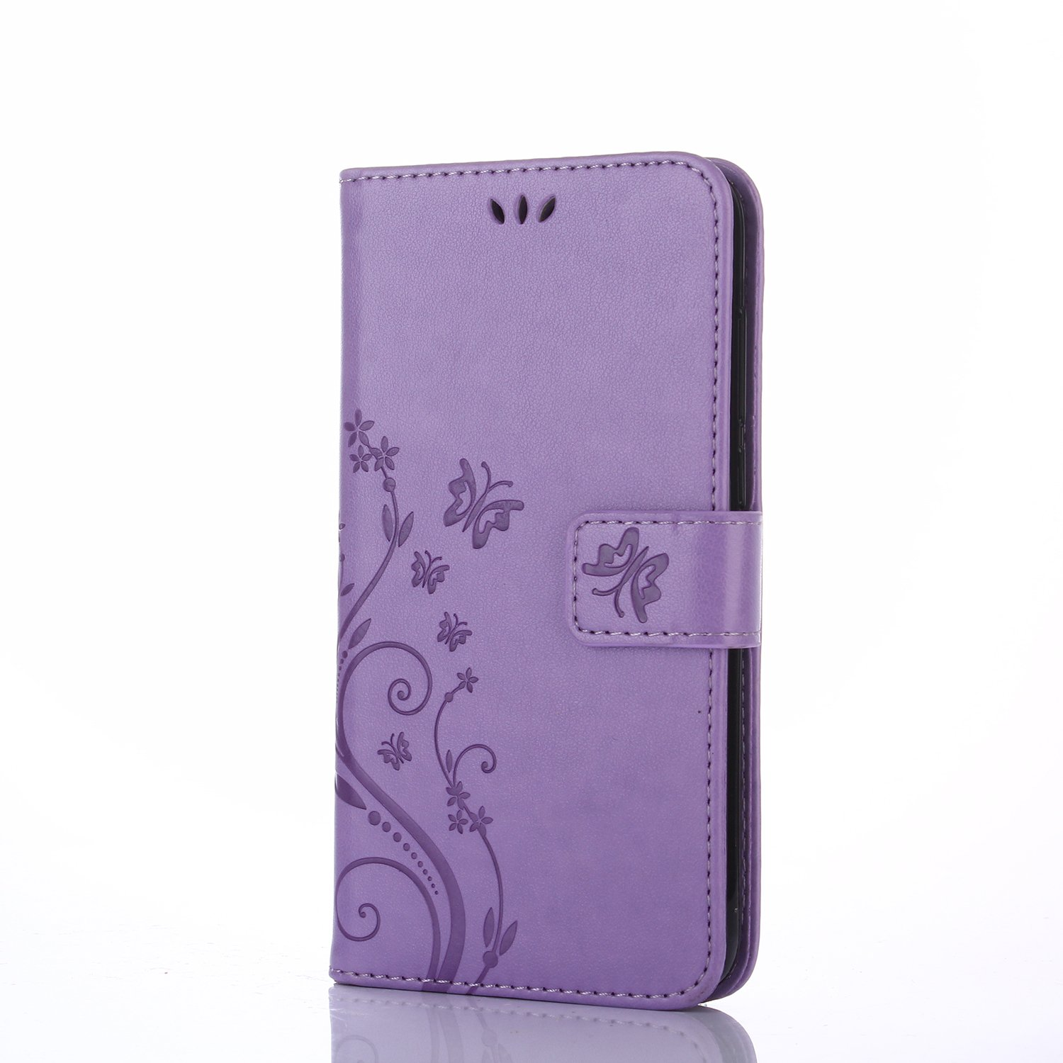 LG K4 2017Beautiful Case,LG K4 2017 Wallet Case,Flip Case Wallet Leather [Kickstand] Emboss Butterfly Flower Folio Magnetic Protective Cover with Card Slots for LG K4 2017 (LG K4 2017, Purple) BTJP