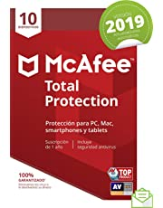 McAfee Total Protection 2019 - Antivirus, PC/Mac/Android/Smartphones, 10 Dispositivos, Suscripción de 1 año Código de activación por correo