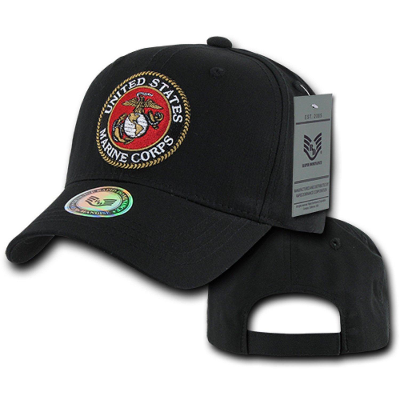 Black United States US Marines Corps USMC Marine Cotton Baseball Structured Cap  Hat at Amazon Men s Clothing store  1cb1b3209f5
