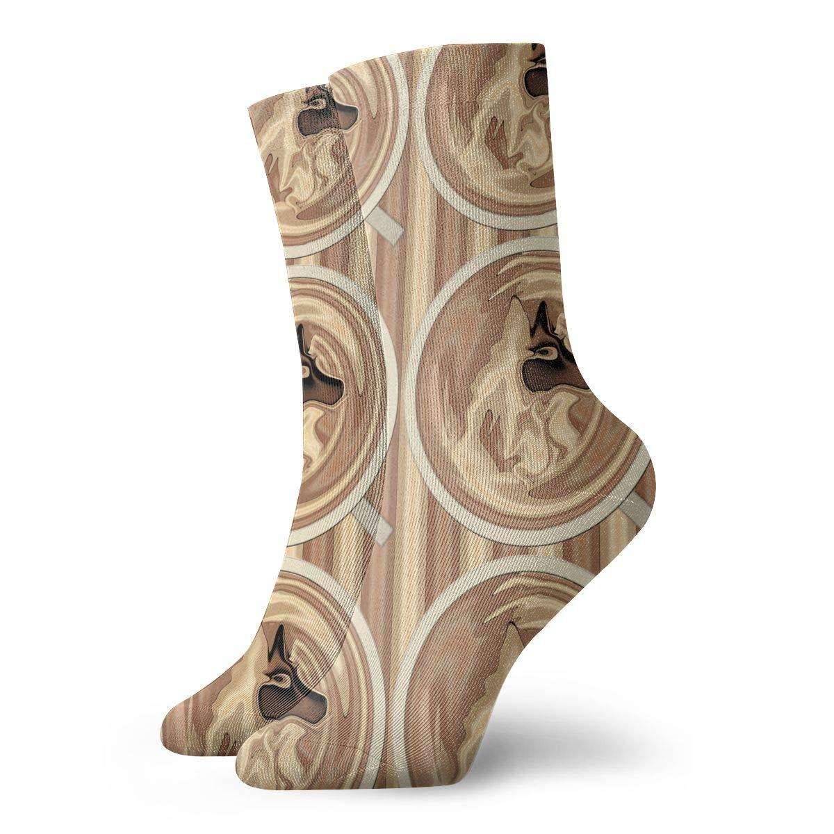 Latte Wolf Half Drop Fashion Dress Socks Short Socks Leisure Travel 11.8 Inch