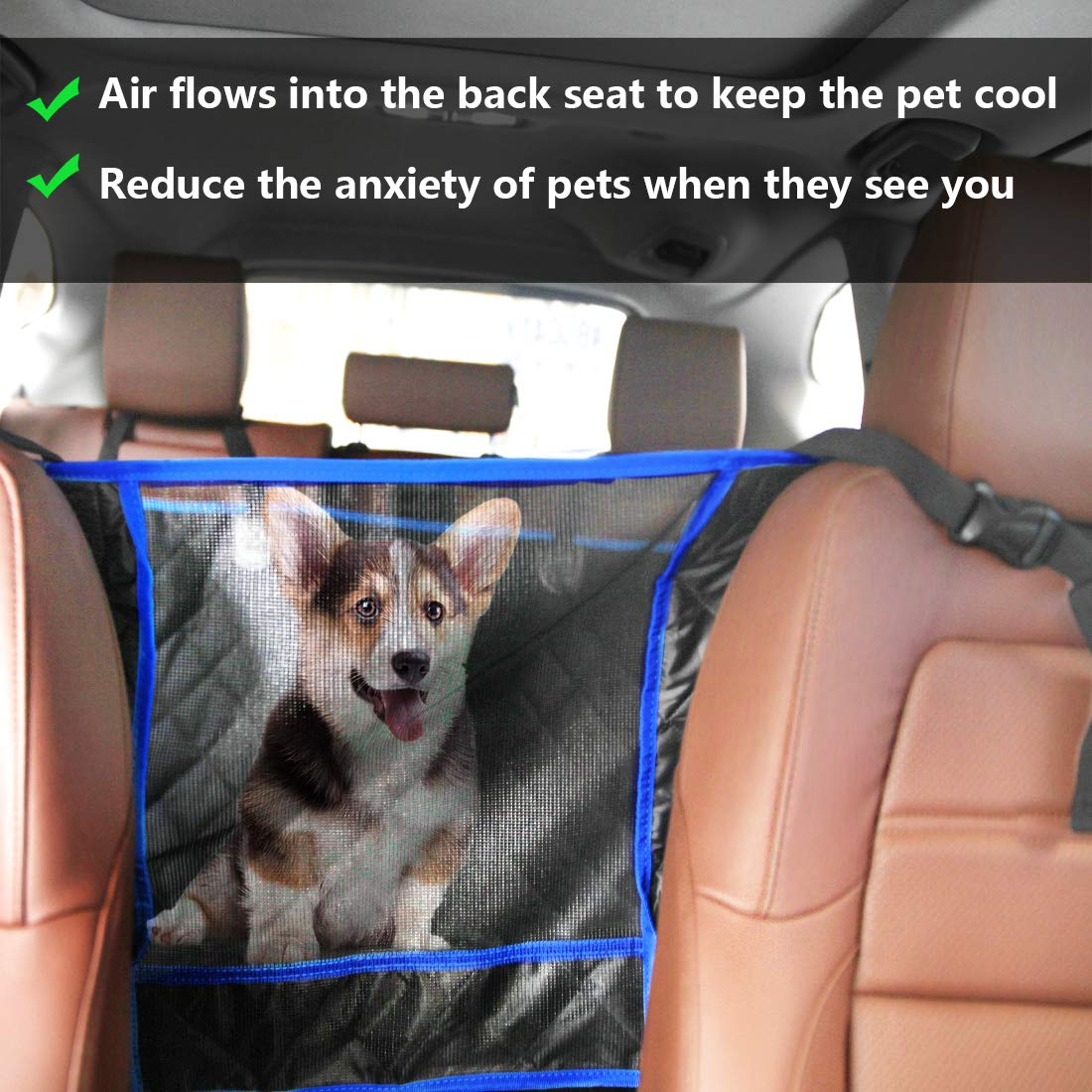 SUPSOO Dog Car Seat Cover Waterproof Durable Anti-Scratch Nonslip Back Seat Pet Protection Dog Travel Hammock with Mesh Window and Side Flaps for Cars/Trucks/SUV by SUPSOO (Image #2)