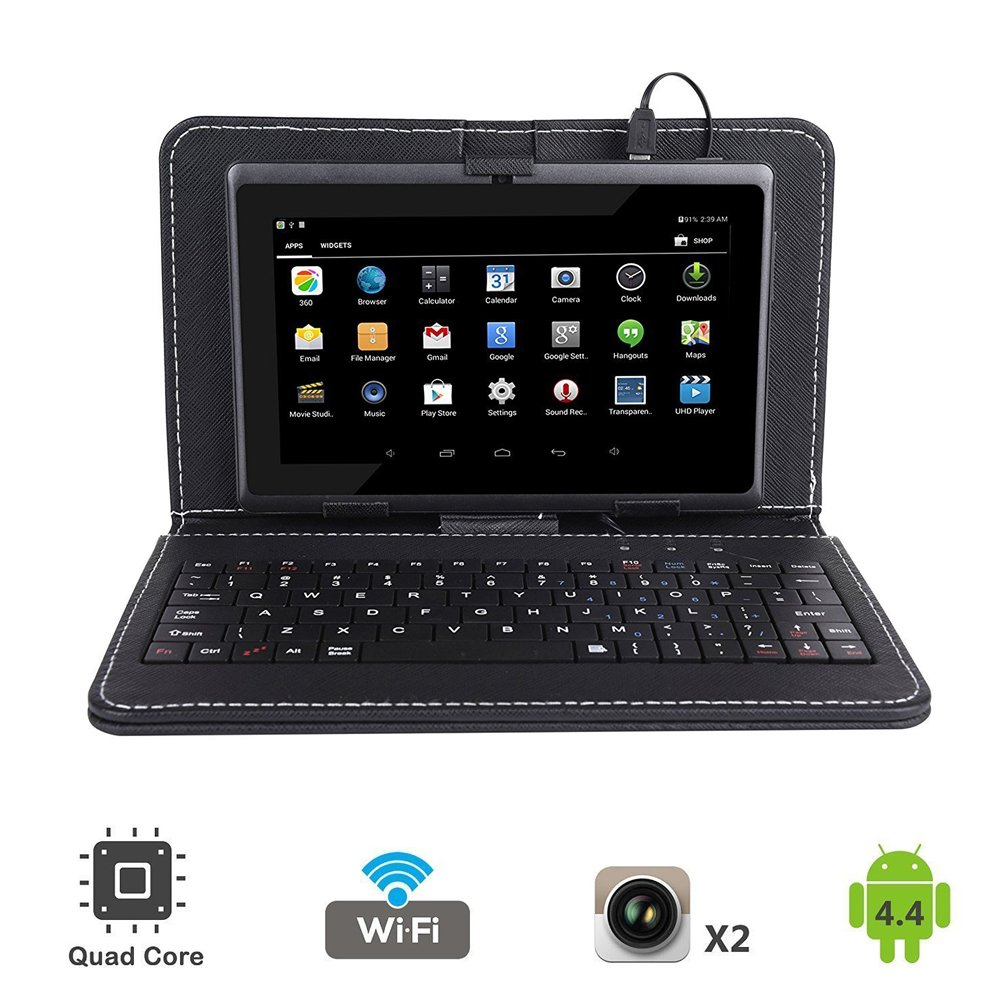 Tagital 7'' Quad Core Android 4.4 KitKat Tablet PC, Dual Camera, Play Store Pre-installed, 2017 Newest Model Bundled with Keyboard (Black)