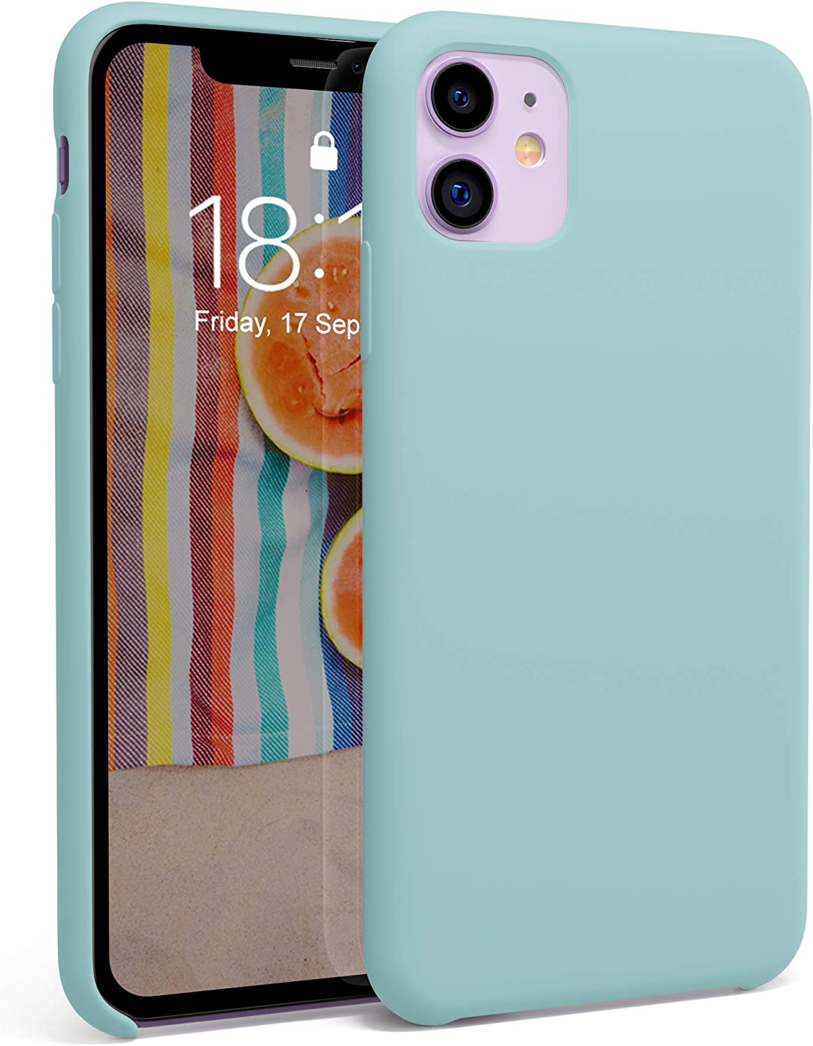 """honua. Silicone Case for iPhone 11, Soft and Protective iPhone 11 Case with Microfiber Lining, Compatible with Apple iPhone 11 6.1"""" (Blue Aquamarine)"""