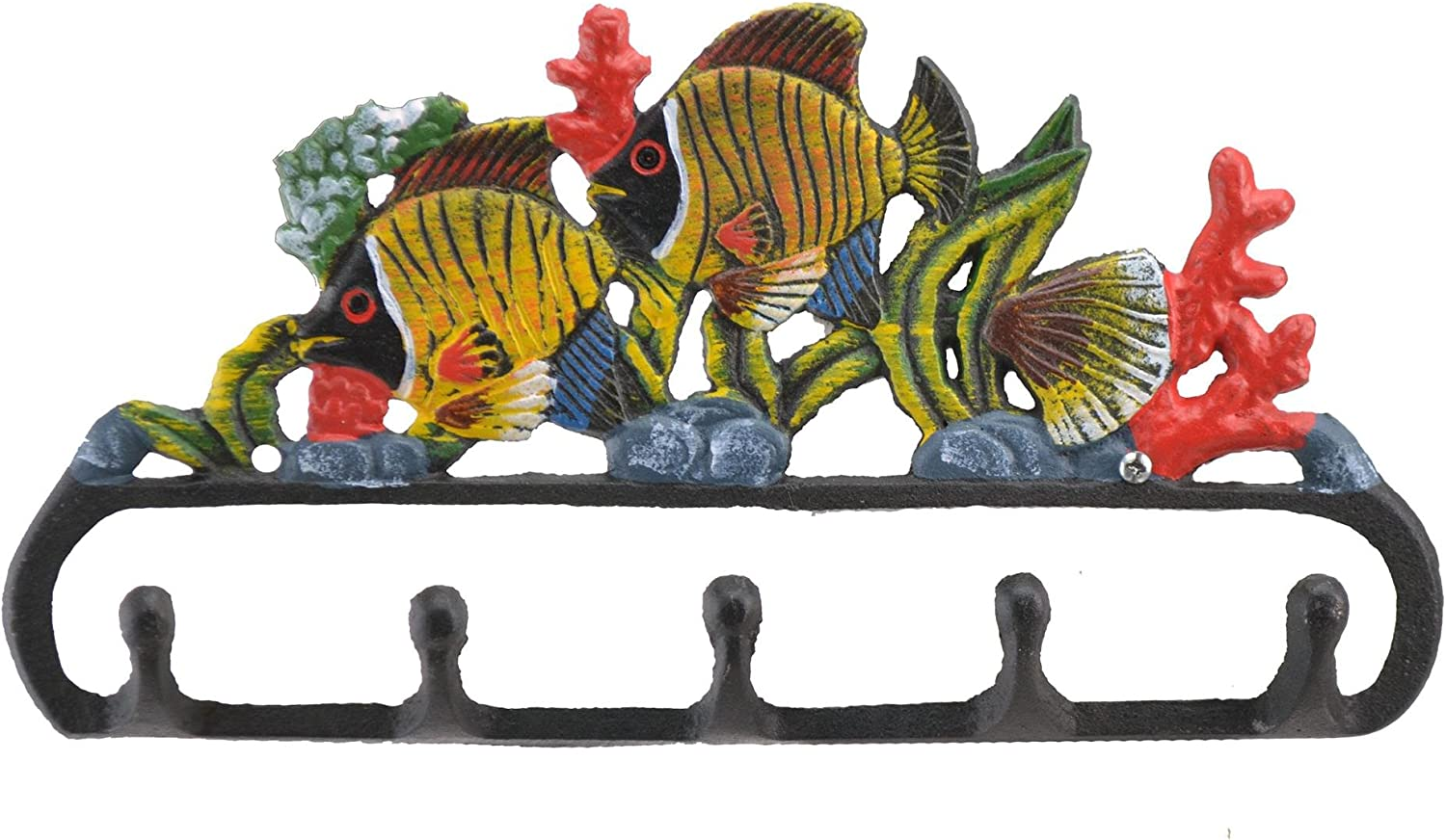 Cast Iron Wall Hook Rack Tropical Fish & Coral 11.125 Wide Beach Home Decor