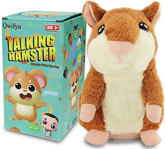 Woodyotime Talking Back Hamster Toy Repeats What You Say Plush Animal Electronic Pet Mimicry Toy for Boys and Girls Stuffed Animals Perfect Friend and Birthday