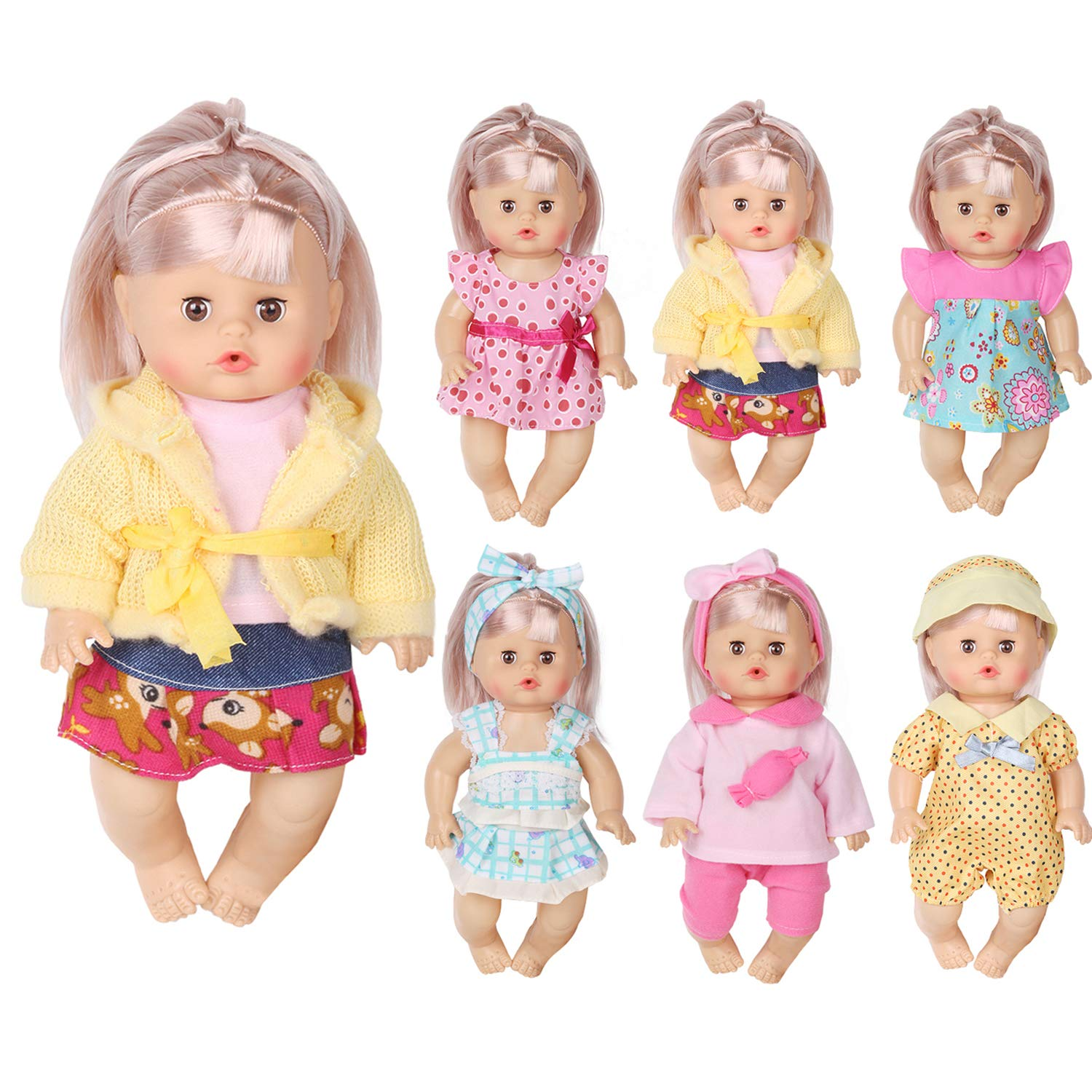Huang Cheng Toys Set of 6 Doll Clothes for 12 Inch Doll Dress Clothes Outfits Costumes Gown Doll Accessories Clothing Handmade China