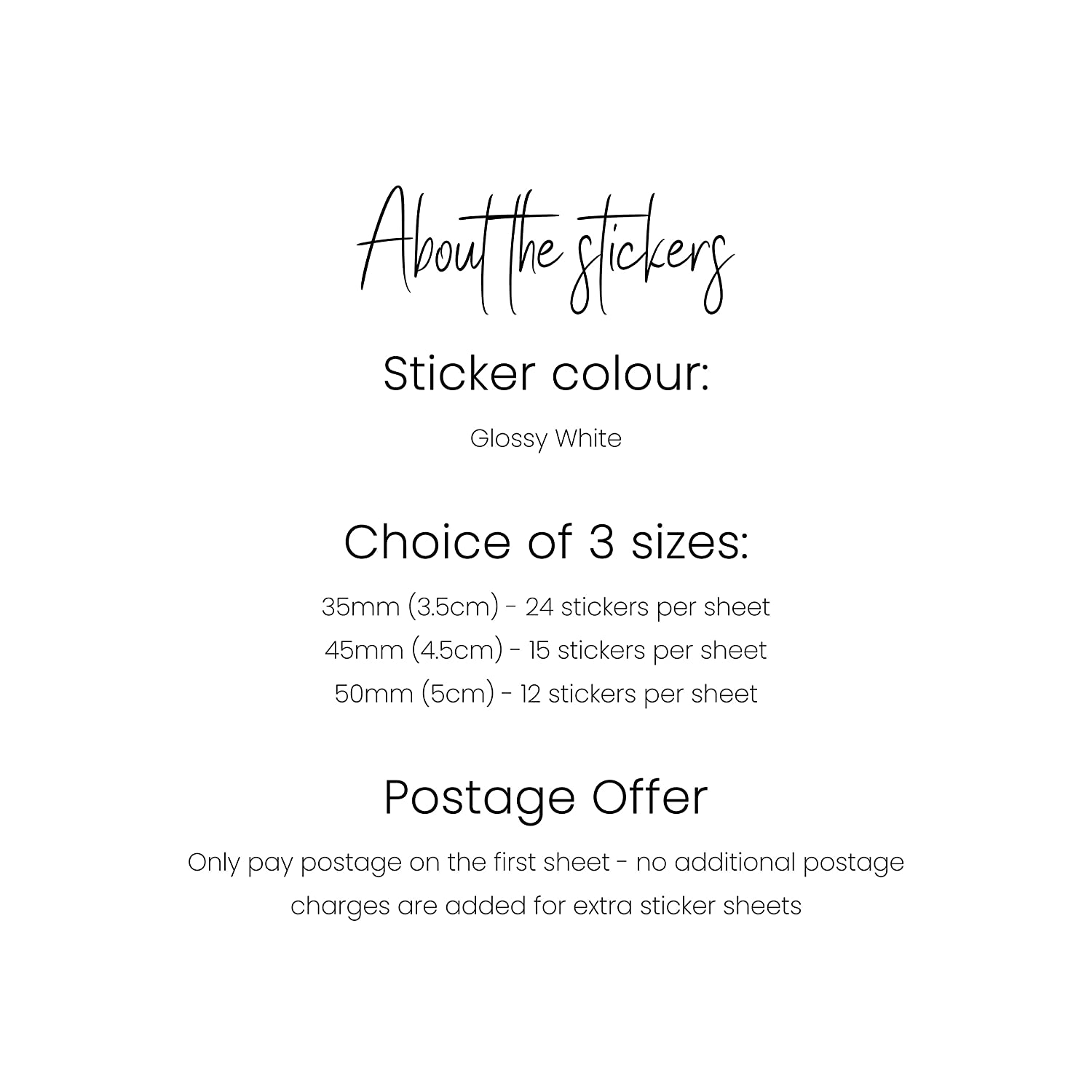 35mm Floral Watercolour Throw Me Custom Made Wedding Stickers Confetti Stickers 45mm or 50mm Glossy White Stickers