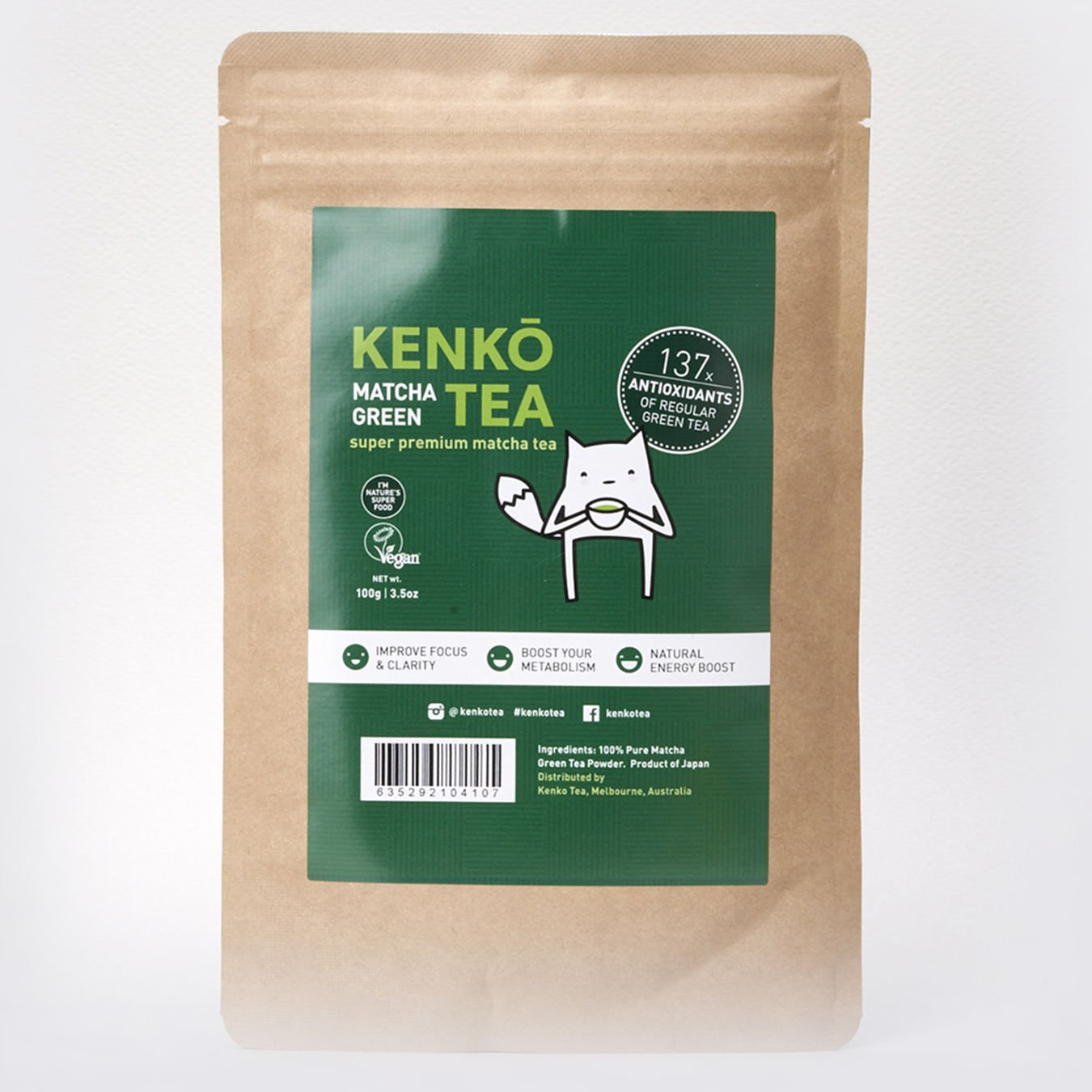 Matcha Green Tea Powder - Premium Japanese by Kenko Tea (Ceremonial Grade 100g)