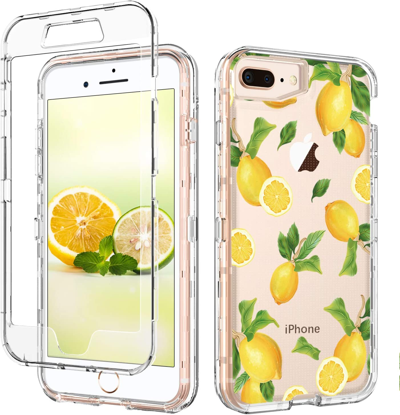GUAGUA iPhone 8 Plus Case iPhone 7 Plus Case Clear Transparent Cover Lemon Fruit Printed Three Layer Hybrid Hard Plastic Soft Rubber Shockproof Protective Phone Case for iPhone 8 Plus / 7 Plus,Yellow