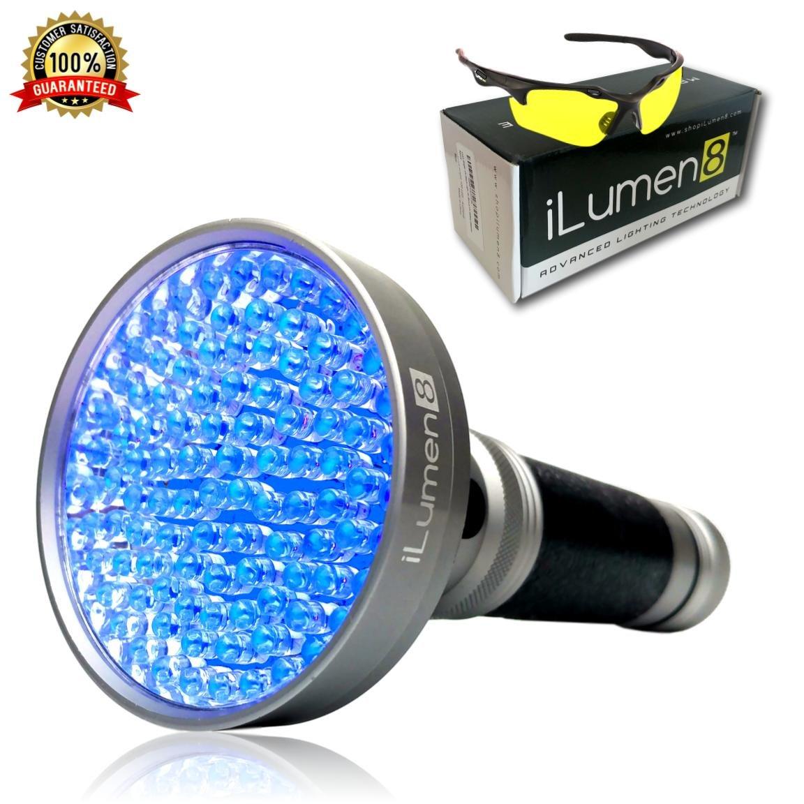 iLumen8 UV Black Light Flashlight Ultimate Pet Pee Urine Finder- 100 LED (Super Hi-Flux) Detect Hidden Hotel & Household Stains, Dog cat Odors, Scorpions, leaks. Includes UV Safety Glasses