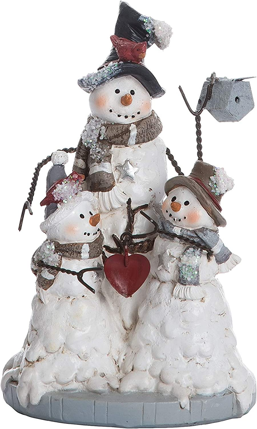 Transpac Imports Resin Wire Arm Christmas Snowman Family Figurines White