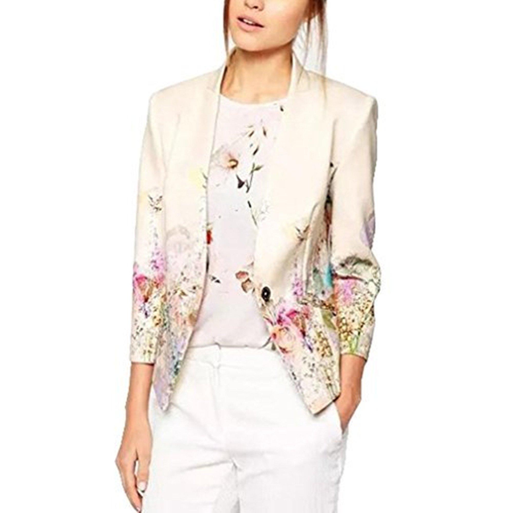 Lingswallow Women's Fit Casual White Vintage Floral Print Slim Button Blazers (M US 2-4, Floral)