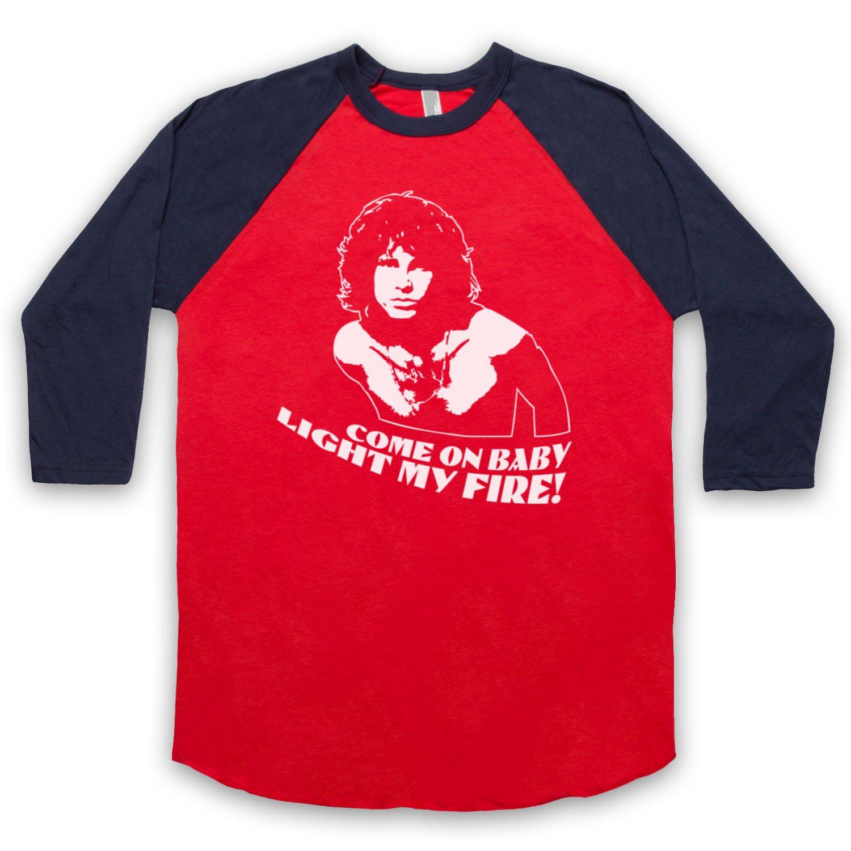 Inspired by Doors Jim Morrison Light My Fire Unofficial 3/4 Sleeve Retro Baseball Tee