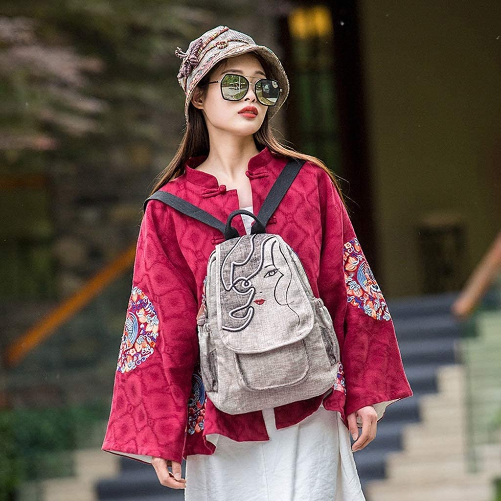 CXQ Vintage Ethnic Literary Backpack Hand-Woven Embroidery Fashion Decorative Backpack Casual Canvas Backpack