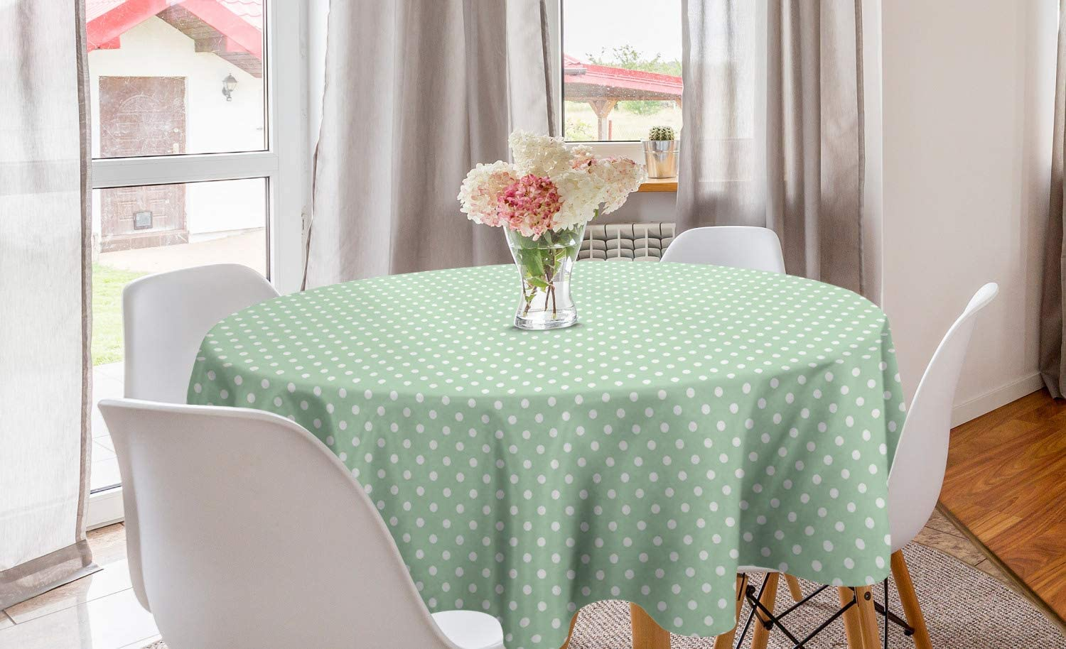 Curtain Vintage Green Woven Fabric Tablecloth