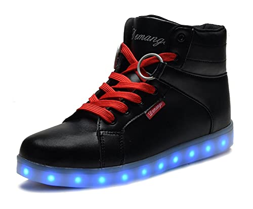 49731932e87 DEMANGO Led Light Up Shoes for Mens Womens High Top Flashing Rechargeable  Sneakers,Size 36