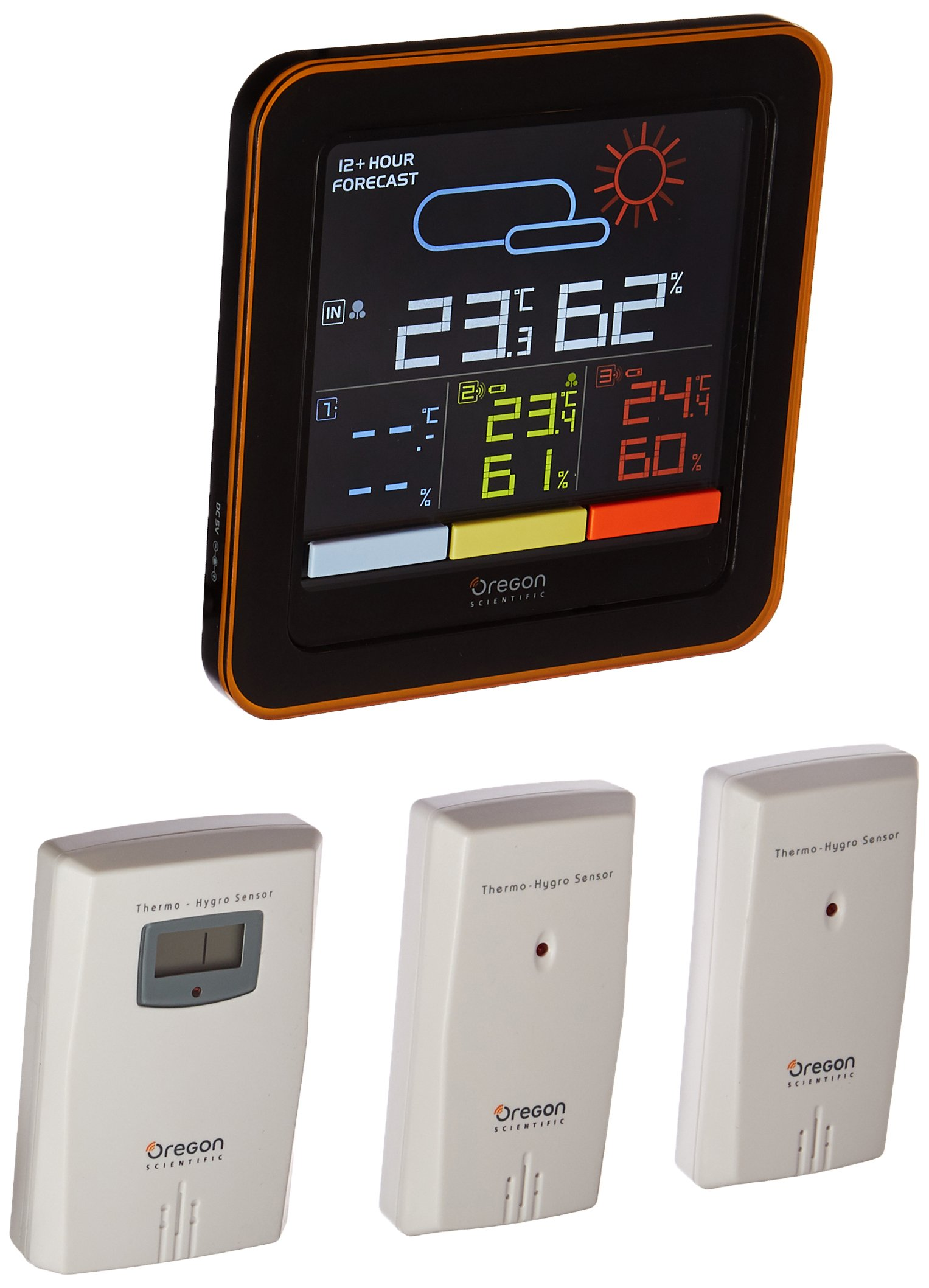 Oregon Scientific RAR502S Multi Zone Wireless Temperature Monitoring Station with Humidity Mold Alert Weather Forecast Indoor Outdoor Kids Baby Nursery Bedroom Home by Oregon Scientific