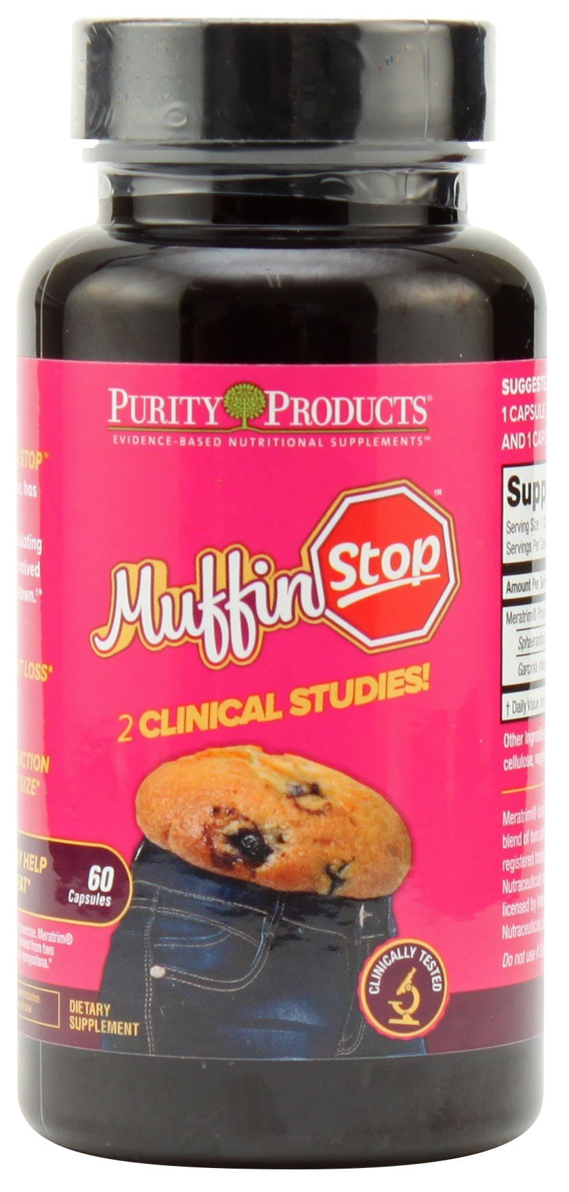 MuffinStop from Purity Products - Clinically Studied Hip and Waist Weight-Loss Supplement, Body Fat Burner, Garcinia - 1 Month Supply, 60 Capsules by Purity Products