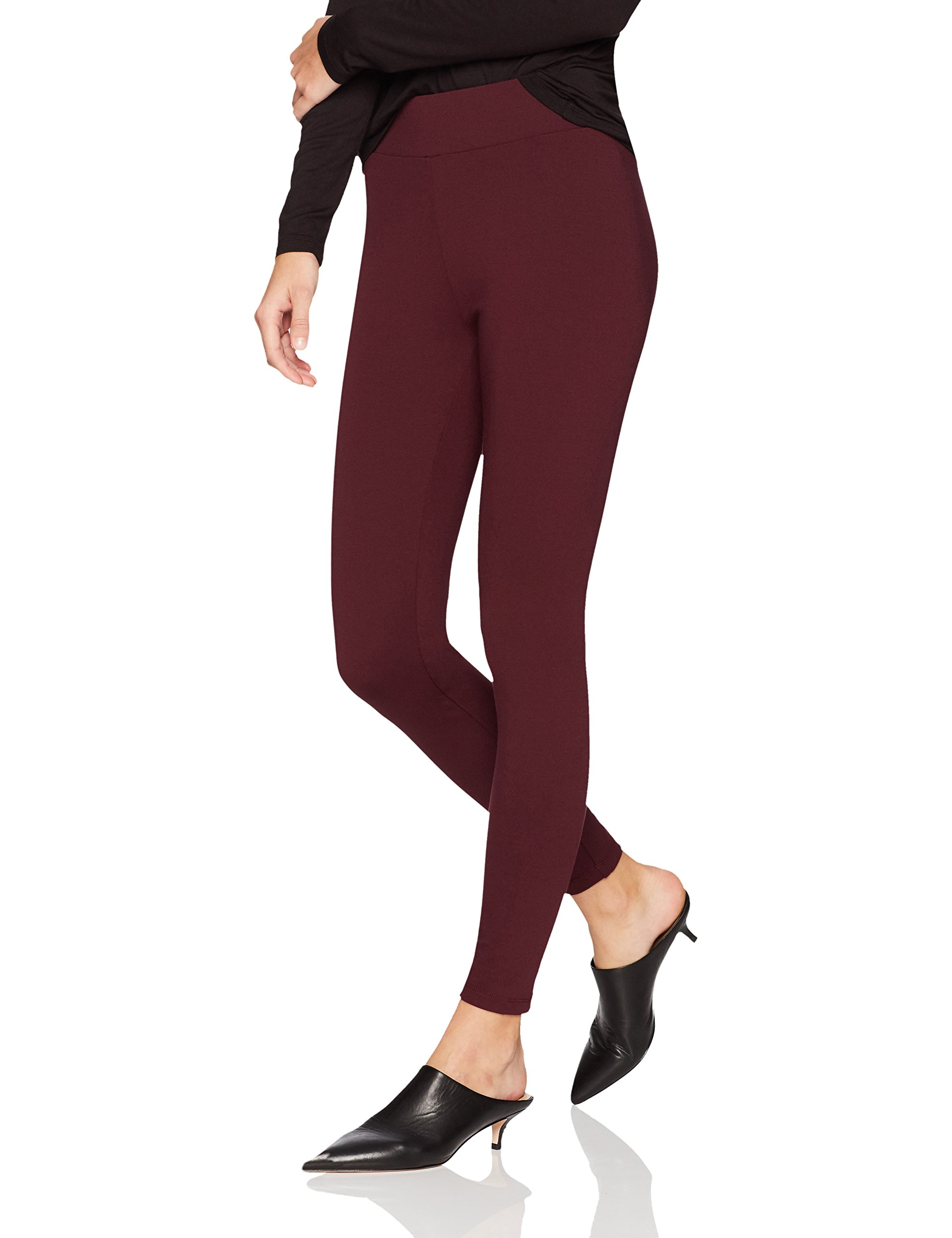 Daily Ritual Women's Ponte Knit Legging, Burgundy, XXL, Short