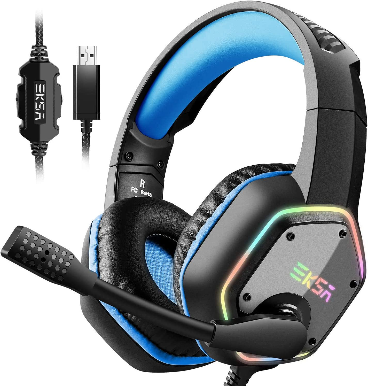 EKSA Gaming Headset with 7.1 Surround Sound Stereo, PS4 USB Headphones with Noise Canceling Mic & RGB Light, Compatible with PC, PS4 Console, Laptop (Blue)