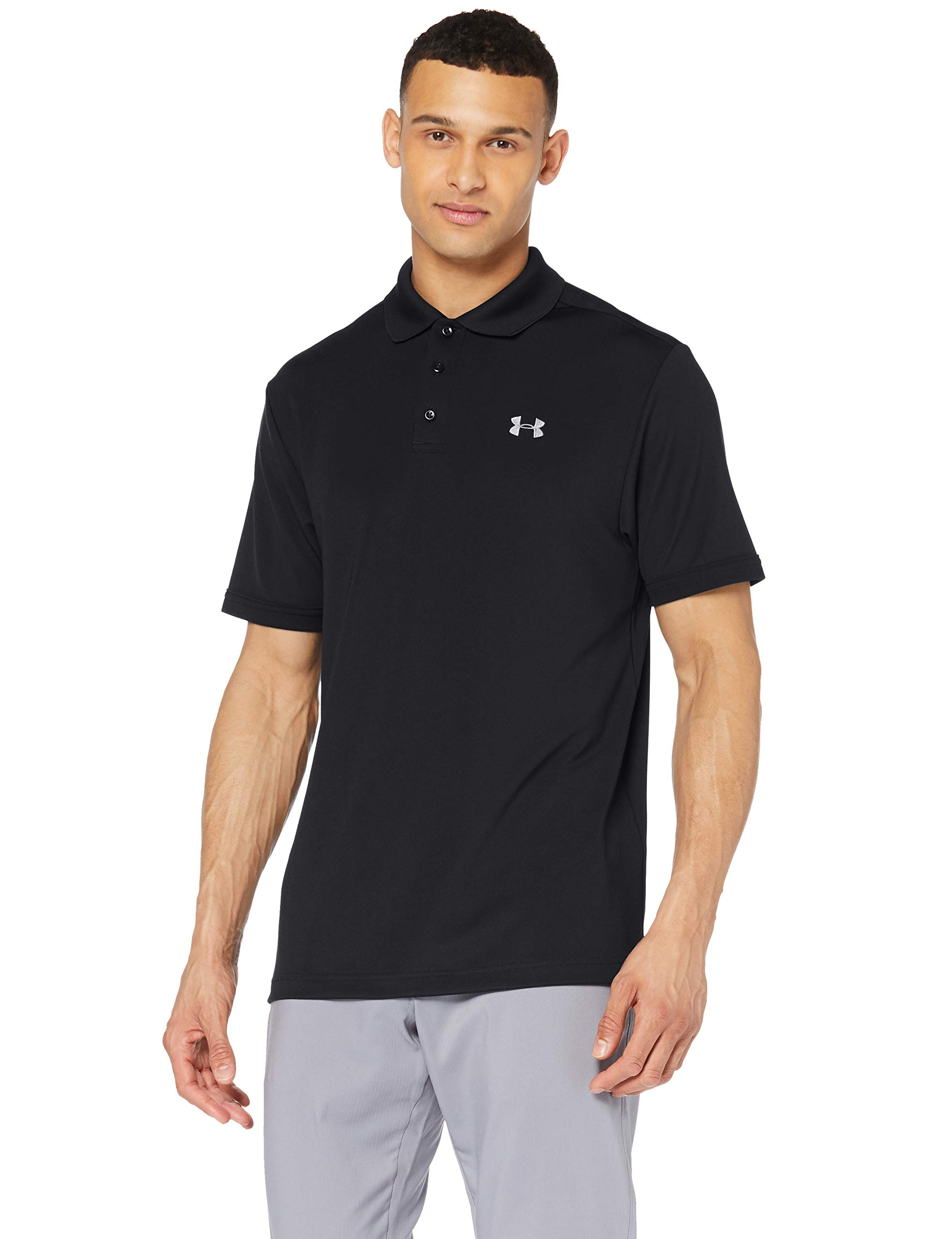 Under Armour Men's Performance Polo, Black (001)/Steel, X-Small