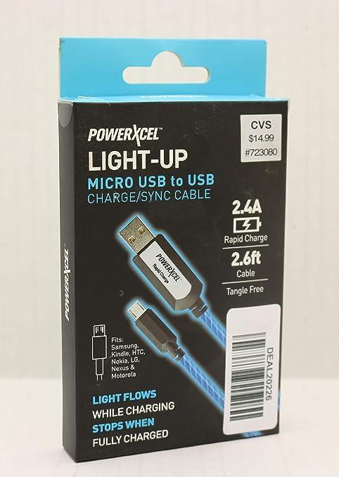 Amazon.com: powerxcel Light Up Micro USB a USB de carga ...
