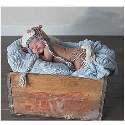 nouveau-né Photographie Props Fille Garçon Crochet Costume tenues Cheval Chapeau Pantalon