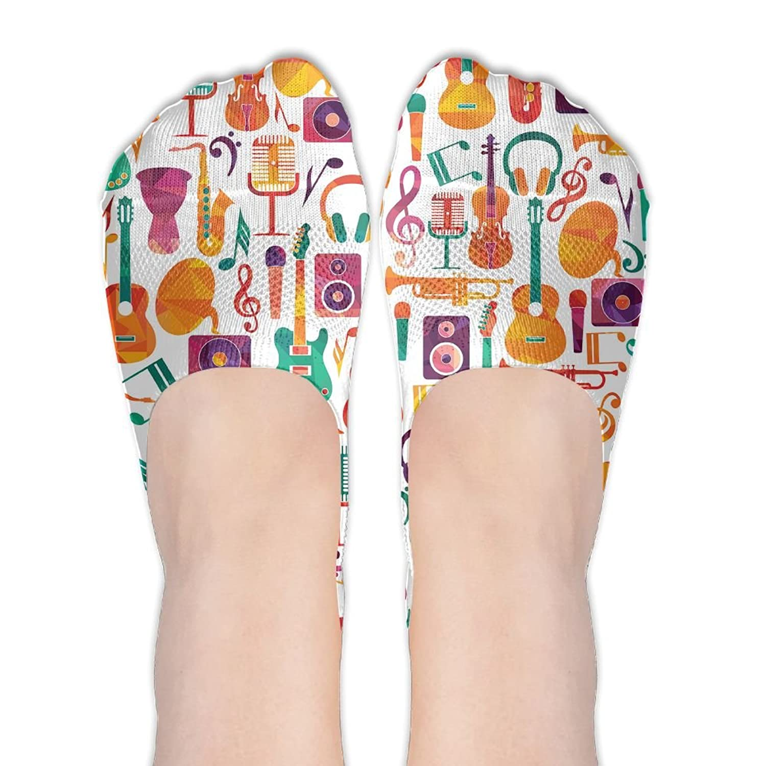 Low Cut Socks Colorful Musical Instruments Detail Printed Soft No-show Liner Invisible Polyester Cotton Sock For Girls & Womens , One Pair