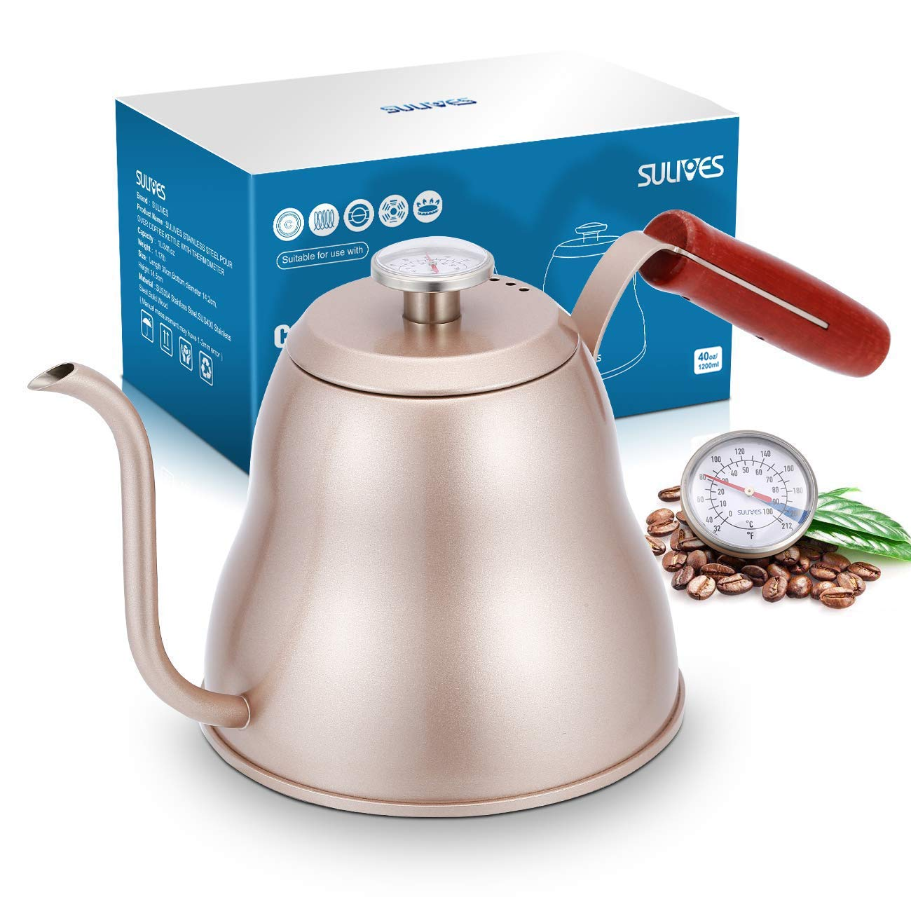 SULIVES 1.2L/40oz Stainless Steel with Built-in Thermometer Pour Over Coffee Kettle, Gold