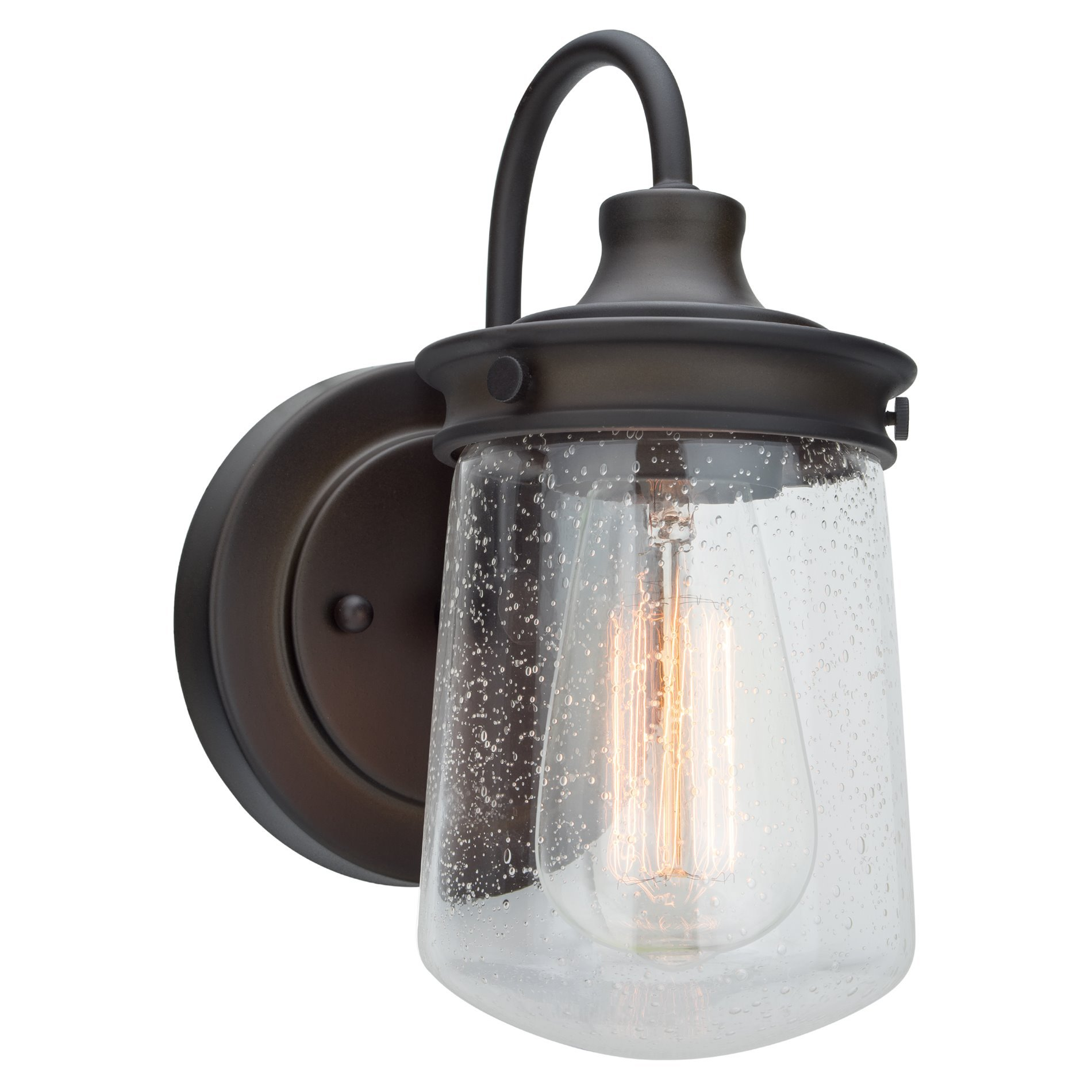 Kira Home Mason 10'' Industrial Wall Sconce, Seeded Glass Shade + Oil-Rubbed Bronze