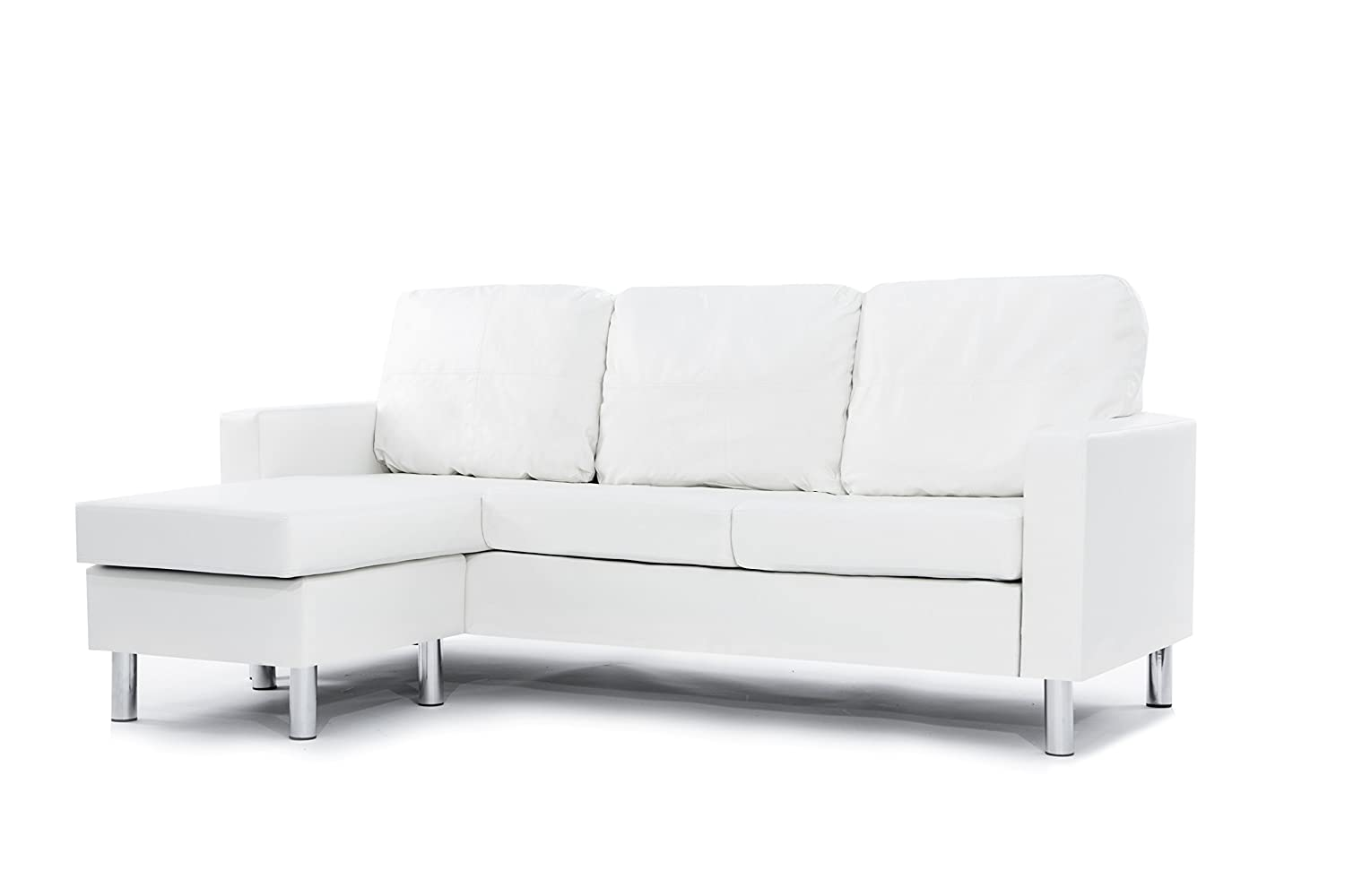 leather sectional sofa white reversible chaise lounge room modern couch new free ebay. Black Bedroom Furniture Sets. Home Design Ideas