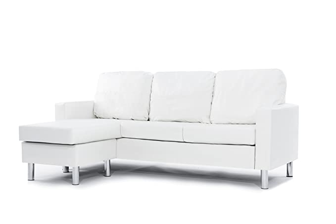 Review Modern Bonded Leather Sectional Sofa - Small Space Configurable Couch - White