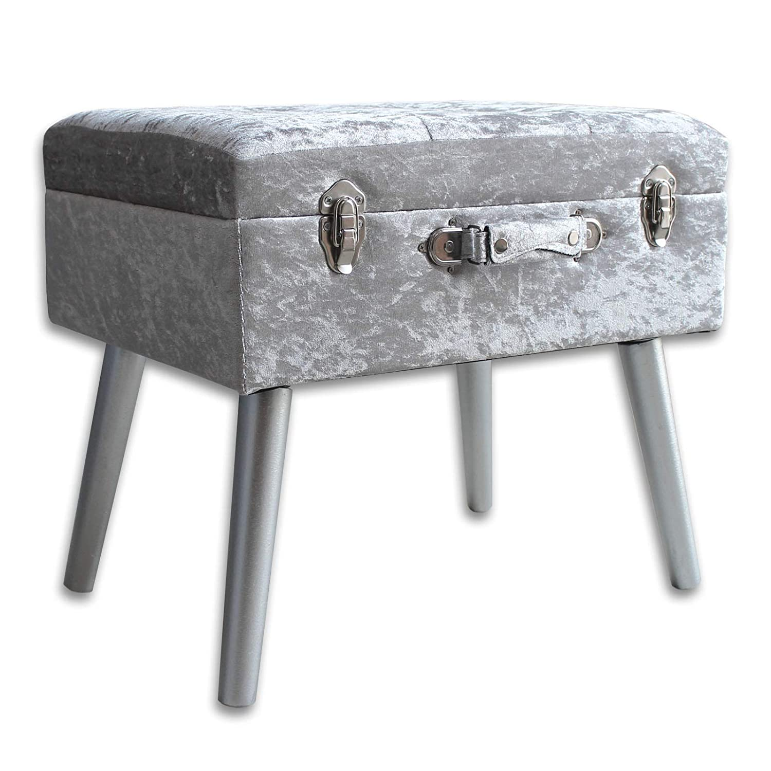 Diamante buttons suitcase style ottoman footstool in silver crushed velvet. Practical storage solution perfect for bedroom and living rooms. Use as footrest bedside table, vanity unit. UK Home Accessories