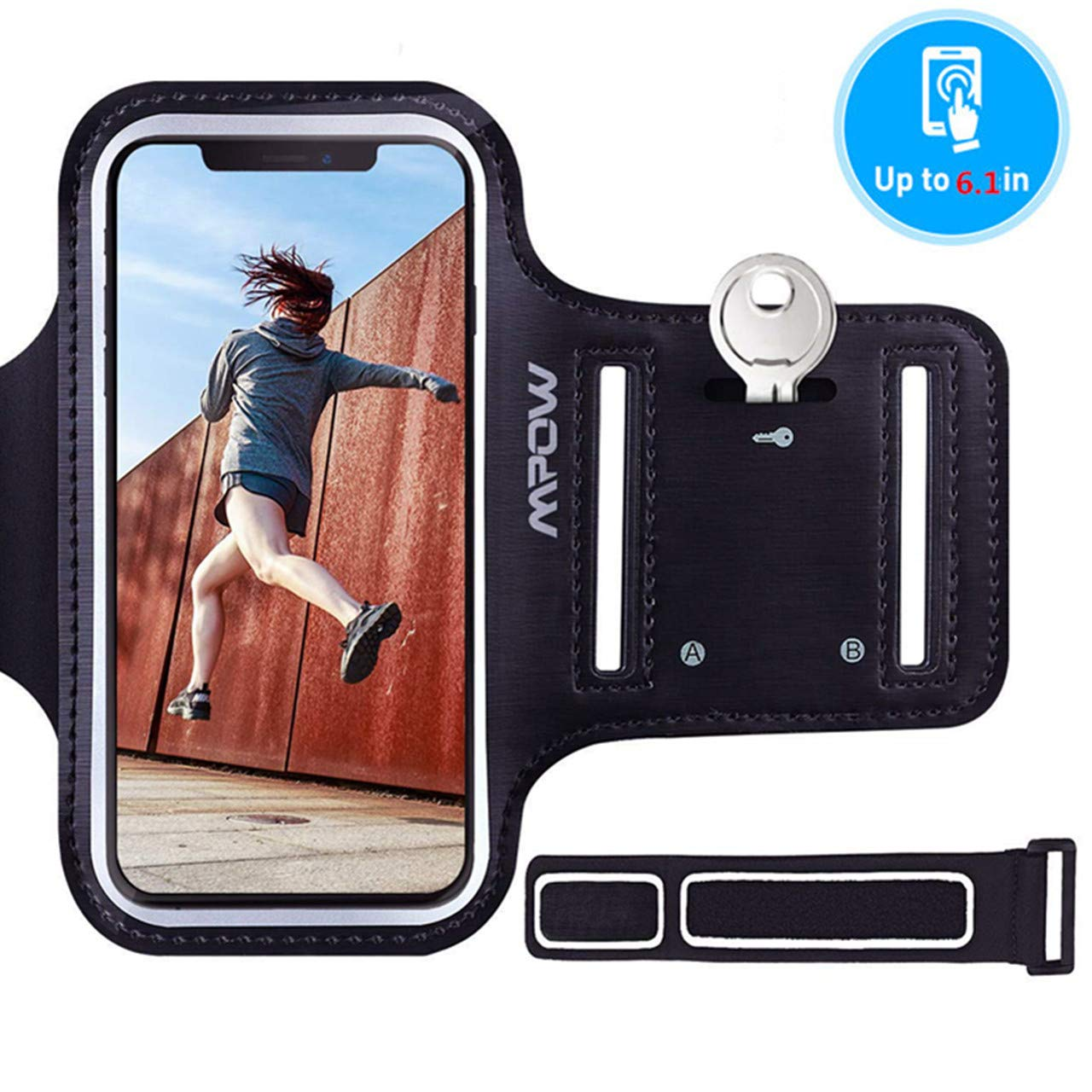 dda591f0890795 Mpow Running Armband for iPhone XS X 8 7 6s 6, Sweatproof Sports Armband  with Running Earphone and Key Holder and Extension Strap, Suitable for  iPhone X ...
