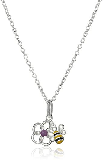 816e647cf Amazon.com: Hallmark Jewelry Sterling Silver Bumble Bee & Flower Pendant  Necklace, 18