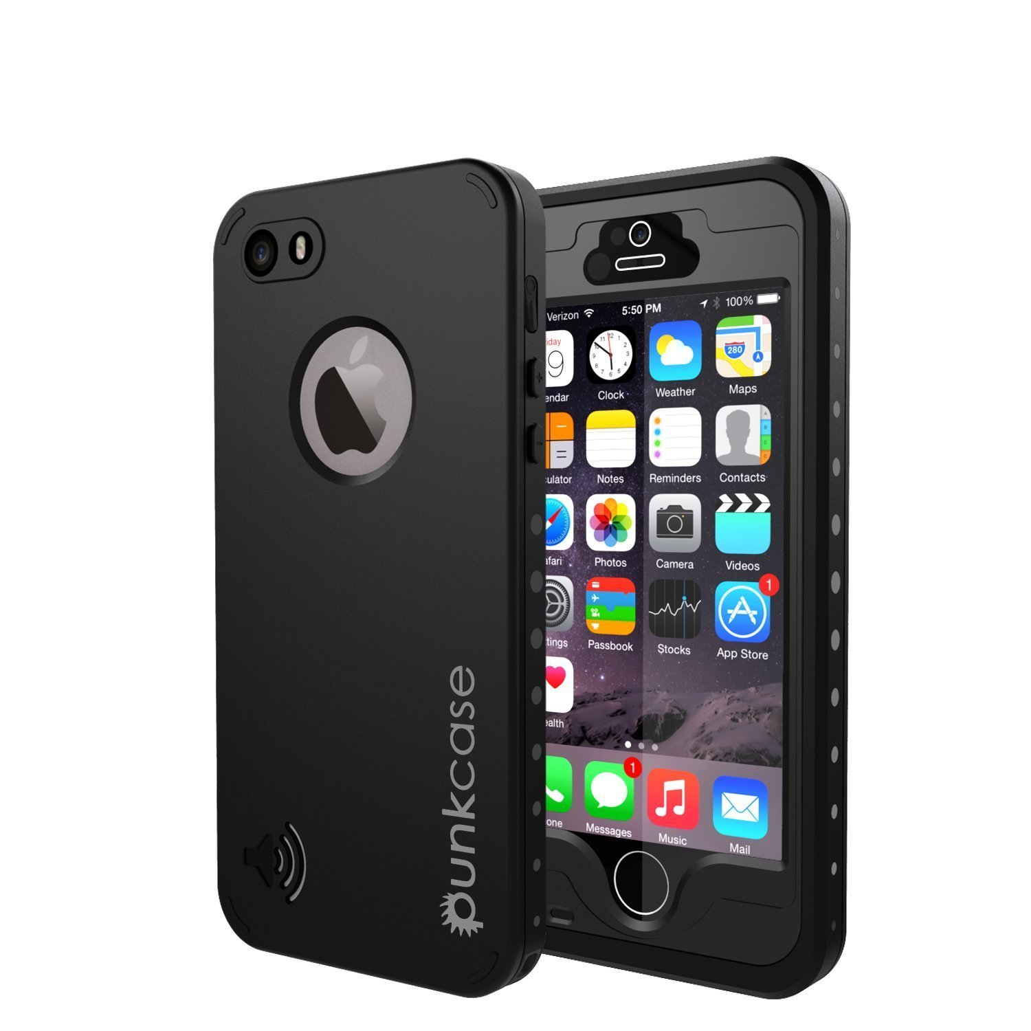 pretty nice 99eeb 7c66b iPhone 5S/5 Waterproof Case, PUNKcase StudStar Black Apple iPhone 5S/5  Waterproof Case W/Attached Screen Protector