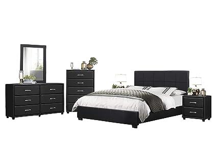 Amazon.com: Langtry 6PC Bedroom Set Queen Platform Bed ...